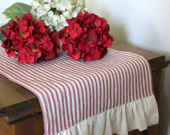 Marvelous Ruffled Striped Ticking Cotton Table Runner   Select From Several Lengths  And Colors