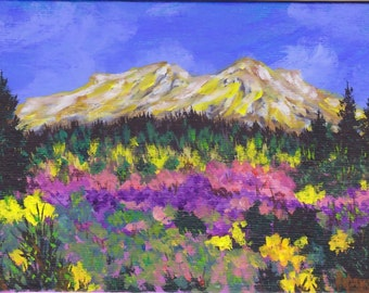 Original Acrylic SFA Spring Meadow Flowers Mountains 5x7 Painting Blue Skies OOAK by Pat Adams Art