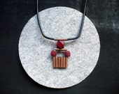 aztec copper necklace - burgundy geometric wooden bead
