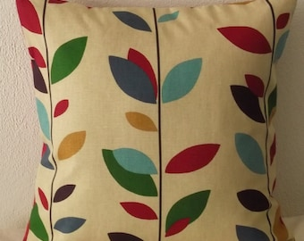 Multi Color Leaves Pillow Cover 18x18 Red