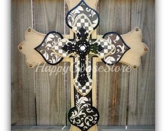 Wall CROSS - Wood Cross - Large - Antiqued Beige, Black & Cream designs