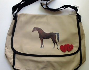 Arabian Arab Chesnut Horse Hand Painted Messenger Bag Can Be Personalized with Name