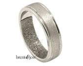 Hand-Carved Rims Fingerprint Wedding Band with Interior Tip Print