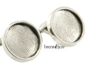 Custom Fingerprint Cufflinks in Sterling Silver