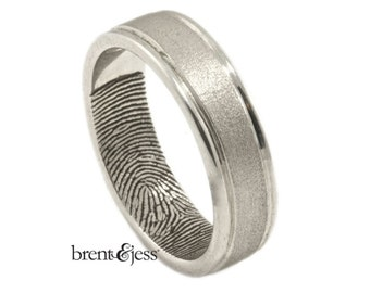 Hand-Carved Rims handcrafted Fingerprint Wedding Band with Interior Tip Print Custom Fingerprint Ring