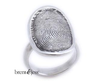 Sterling Silver Custom Signet Fingerprint Ring with Half Round 4mm Shank