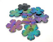 Vintage French Flower Sequins Black AB Aurora Borealis France 20mm sqs0028 (10)