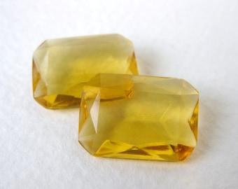 Vintage Rhinestone Glass Jewel Light Topaz Octagon Transparent 18x13mm rhs0397 (2)