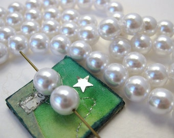 Vintage Japanese Bead Faux Pearls White Acrylic Rounds Japan 8mm vgp0518 (24)