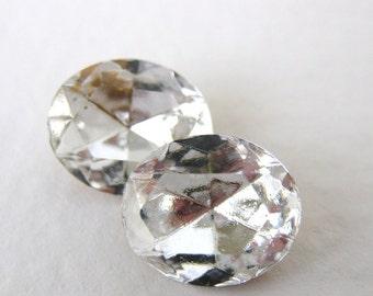 Vintage Swarovski Crystal Rhinestone Clear Oval Jewel 12x10mm swa0384 (2)