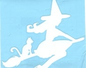 Cat and Pin Up Witch Silhouette, White Vinyl Decal
