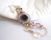 Geode Amethyst Bracelet Raw Gemstone Jewelry Pearl Bracelet Stalactite Jewelry Stalactite Bracelet Amethyst Bracelet Crystal Quartz Bracelet