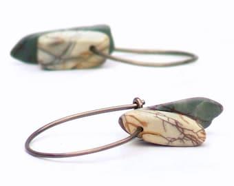 Rustic Stone Hoop Earrings Red Creek Jasper Simple Gemstone Bronze Wire
