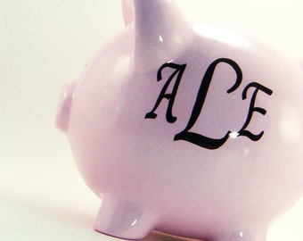 3 Letter Monogram Piggy Bank - Personalized Piggy Bank - Monogram Piggy Bank - Piggy Bank with Letters - with hole or NO hole in bottom
