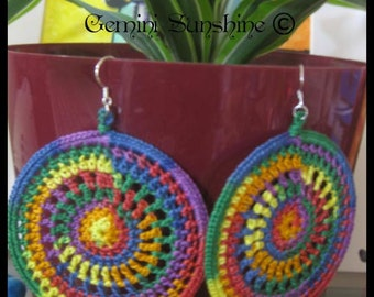 PDF Crochet Pattern, Rainbow Sol crochet earring, DIY tutorial