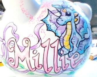 Personalized Piggy Bank Little Dragon Ribbon Stars Date of Birth