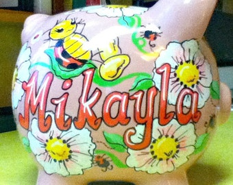Pink Piggy Bank Ladybugs and Daisies Handpainted Personalized Bank