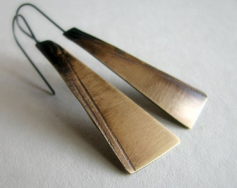 Brass earrings, patterned and hand cut metal, modern rustic earrings - Shadowland