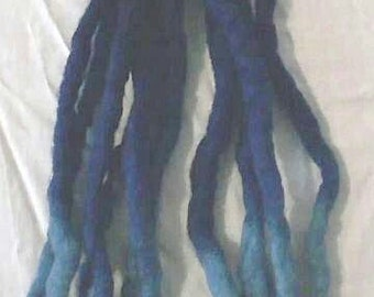Custom Quantity Dreadlock Transitional Blue Wool Dread Medium Length Raver Hair Extentions