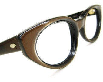Vintage 60s Brown Cat Eye Eyeglasses Sunglasses Frame