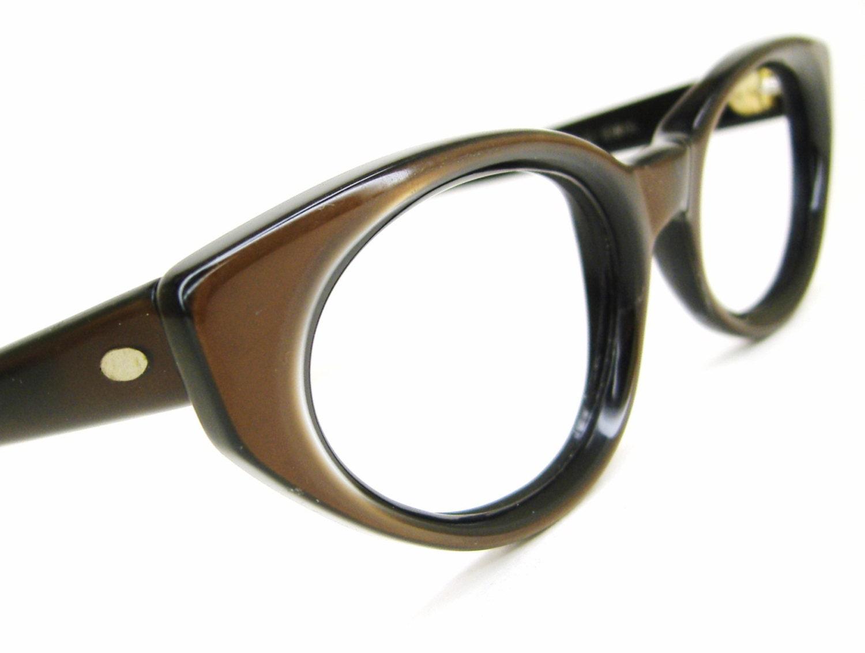 Vintage 60s Brown Cat Eye Eyeglasses Sunglasses Frame