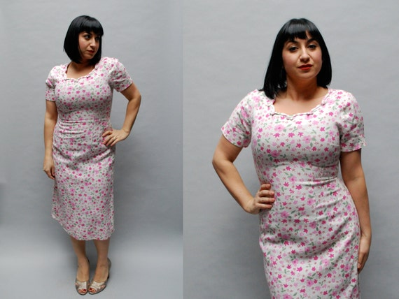 vintage 1950s dress. linen. floral print. medium large