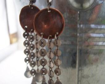 Mixed metal labradorite dangle earrings- Boho Goddess Collection- Labradorite earrings- Custom options available