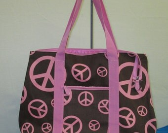 Personalized Baby Pink and Brown Peace Sign Oversized Tote Bag *ON SALE*