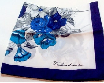 Flower Blue and White Scarf by Valentine With Tag