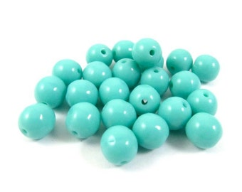30 - Czech Pressed Glass Druk Beads - Turquoise Blue - 6mm - D0256