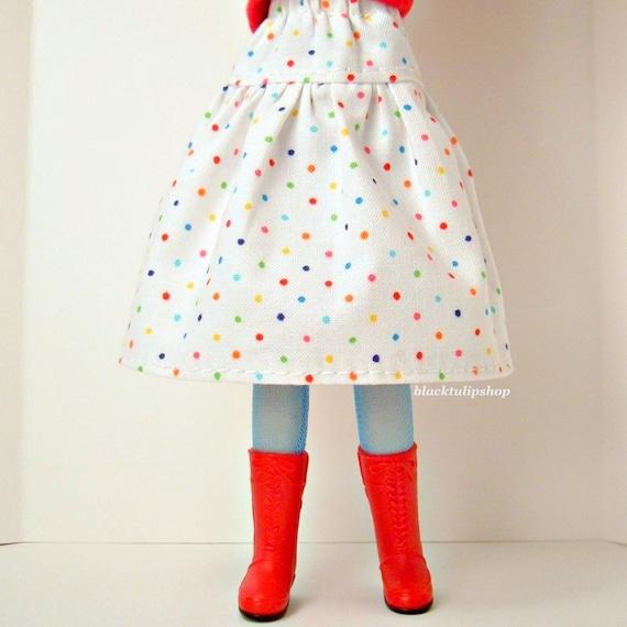 Blythe Pullip Doll Clothes Colorful Polka Dot  White Skirt