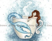 Relax mermaid in coffee tea cup 8.5x11 print by Amy Brown