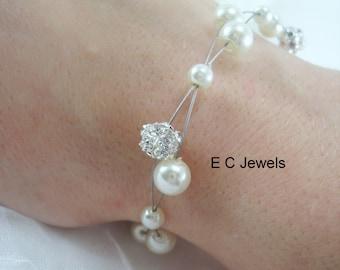Floating Pearls with Rhinestones Bracelet