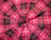 Pink Plaid Upcycled Umbrella Dog Rain Coat