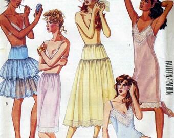 Vintage 80s McCalls 3318 Misses Petticoat, Camisole, Full Slip, Half Slip and Panties Sewing Pattern