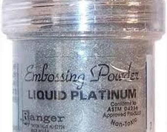 Liquid Platinum Embossing Powder,  Embossing Powder by Ranger, 1 oz Jar