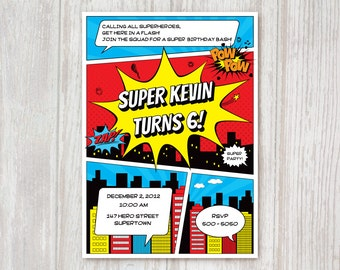 Superhero Birthday Invitation, printable party invitation, comic book invite PDF digital download IN001