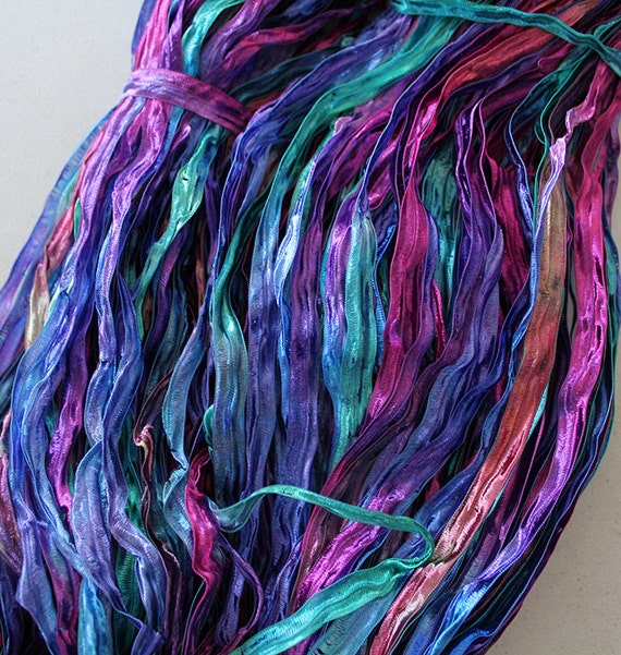 Nylon Knitting Ribbon : Hand dyed ribbon yarn aurora nylon yds