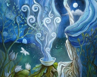 A fairytale art print . 'Shaman Light'. by Amanda Clark.