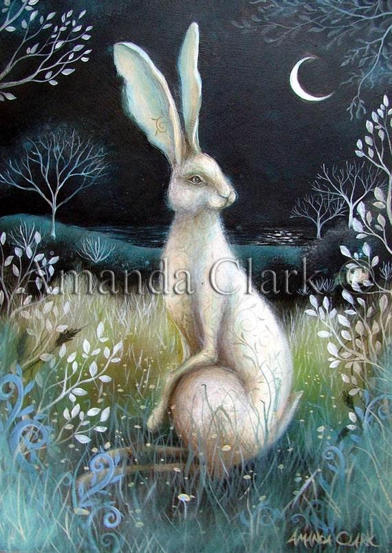 A fairytale  art print titled' Hare by Night'. By Amanda Clark.