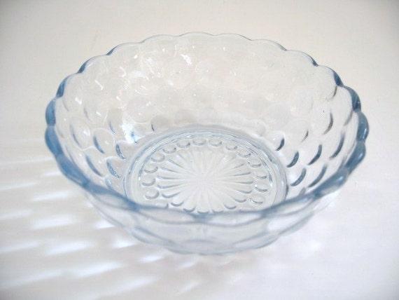 Light Blue glass bowl Depression glass blue bubble bulls-eye