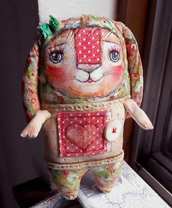 Original art doll folkart  Floppy ears bunny with secret message 1 . OOAK  by milliaart.