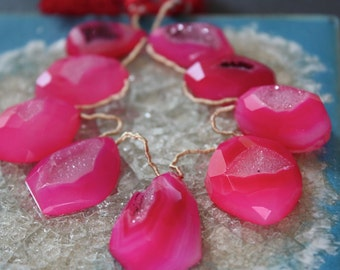 Large Hot Pink Druzy Briolettes - 8-inch strand