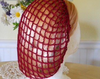 Burgundy Red Snood Hair Net