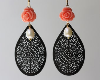 Black Filigree, Red Roses, White Pearls, Large Earrings, Gypsy Style, Gifts for Mom, Floral Design, Large Earrings, Birthday Gift for Wife