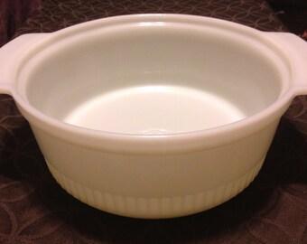 Milk Glass - Casserole Dish - Fire King - 2 qt