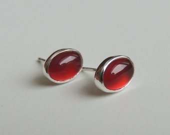 Carnelian Earrings Oval Stud Earrings Sterling Silver Small Earrings