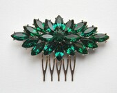 Rhinestone Hair Comb - Bridal Hair Comb - Emerald Green Rhinestone Comb - Art Deco Hair Comb - Bridal Hairpiece - Swarovski Comb
