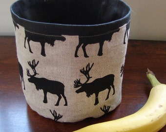 Reindeer Organic Linen and black canvas Basket, Finland