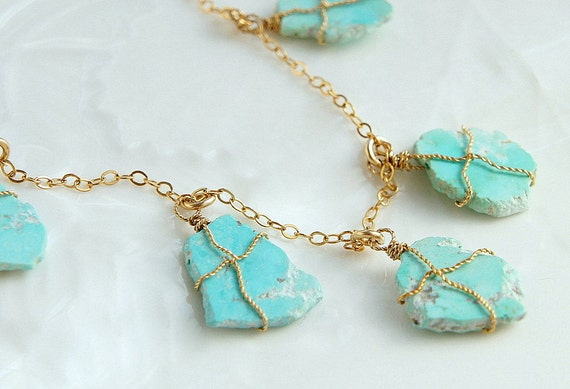 Turquoise Statement Necklace Turquoise Slice Gold Necklace Natural No Dyed Turquoise
